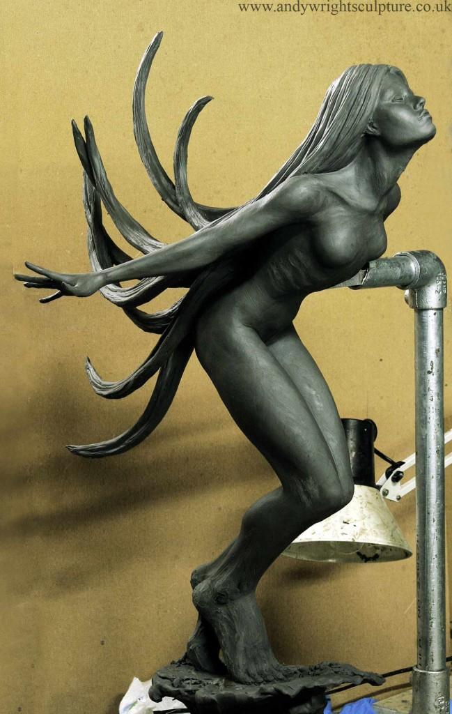 Breeze nude fine art statue, indoor and sculpture garden bronze