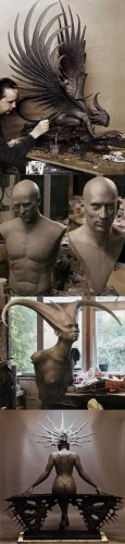 sculpting harpy, Norton and DeNiro portraits, demoness, art nude