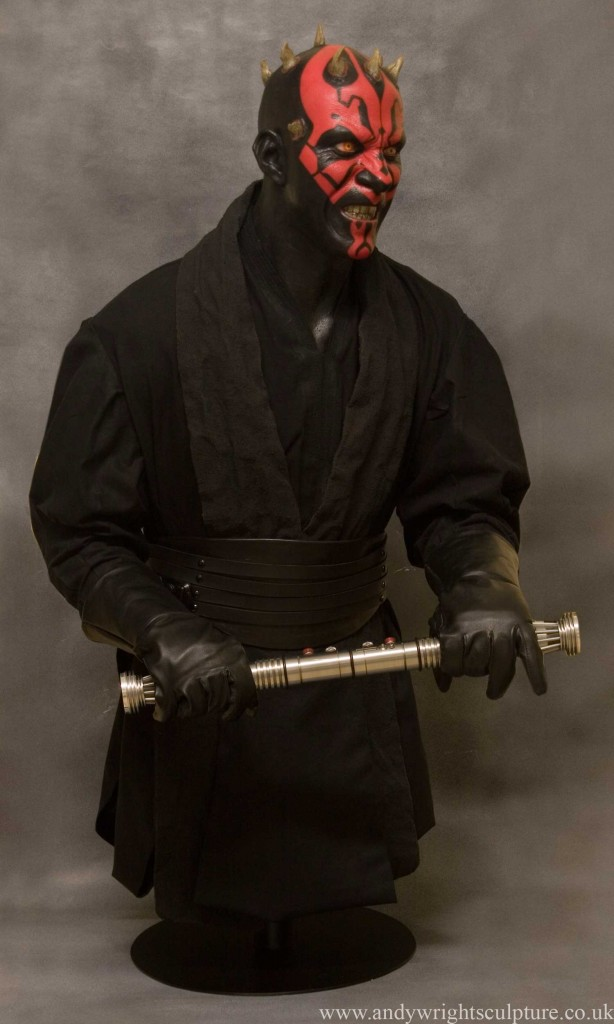 Darth Maul realistic 1:1 life size portrait bust statue prop, made from silicone rubber, fibreglass, costume and metal lightsaber