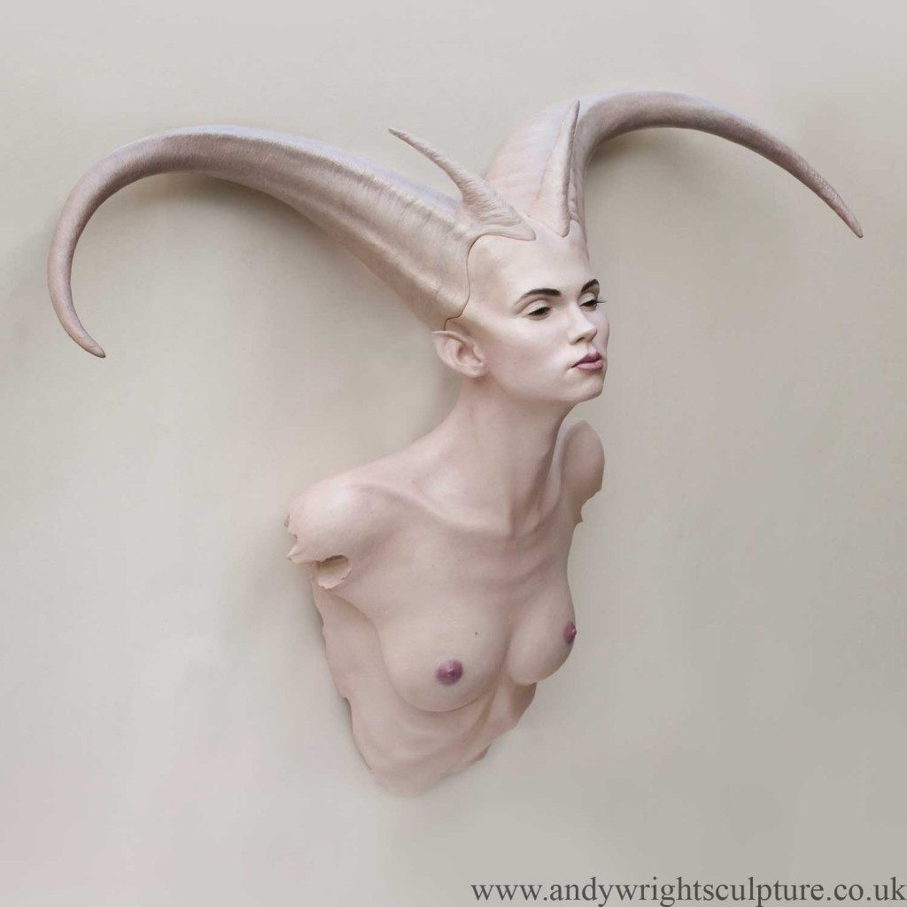 Demoness life size fantasy myth fine art nude sculpture bust
