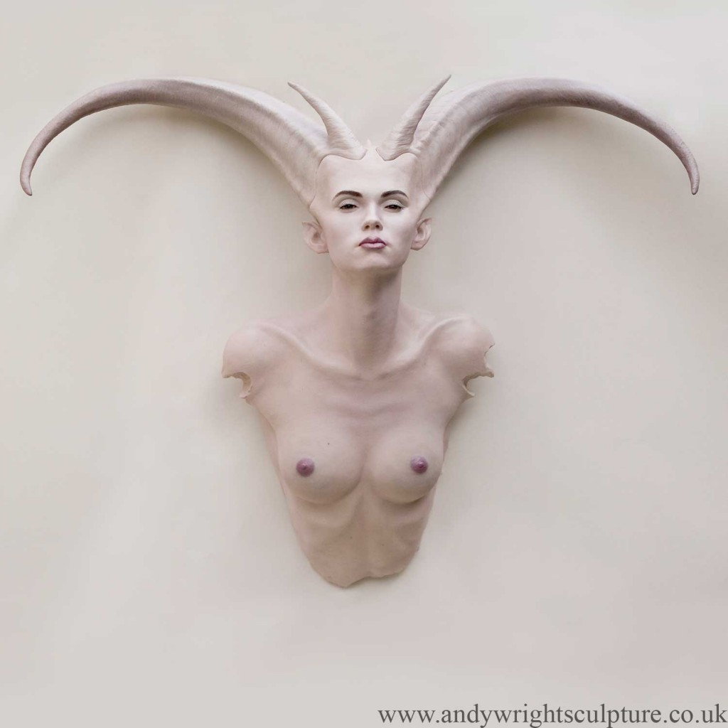 Demoness nude life size bust sculpture - wall or stand mounted