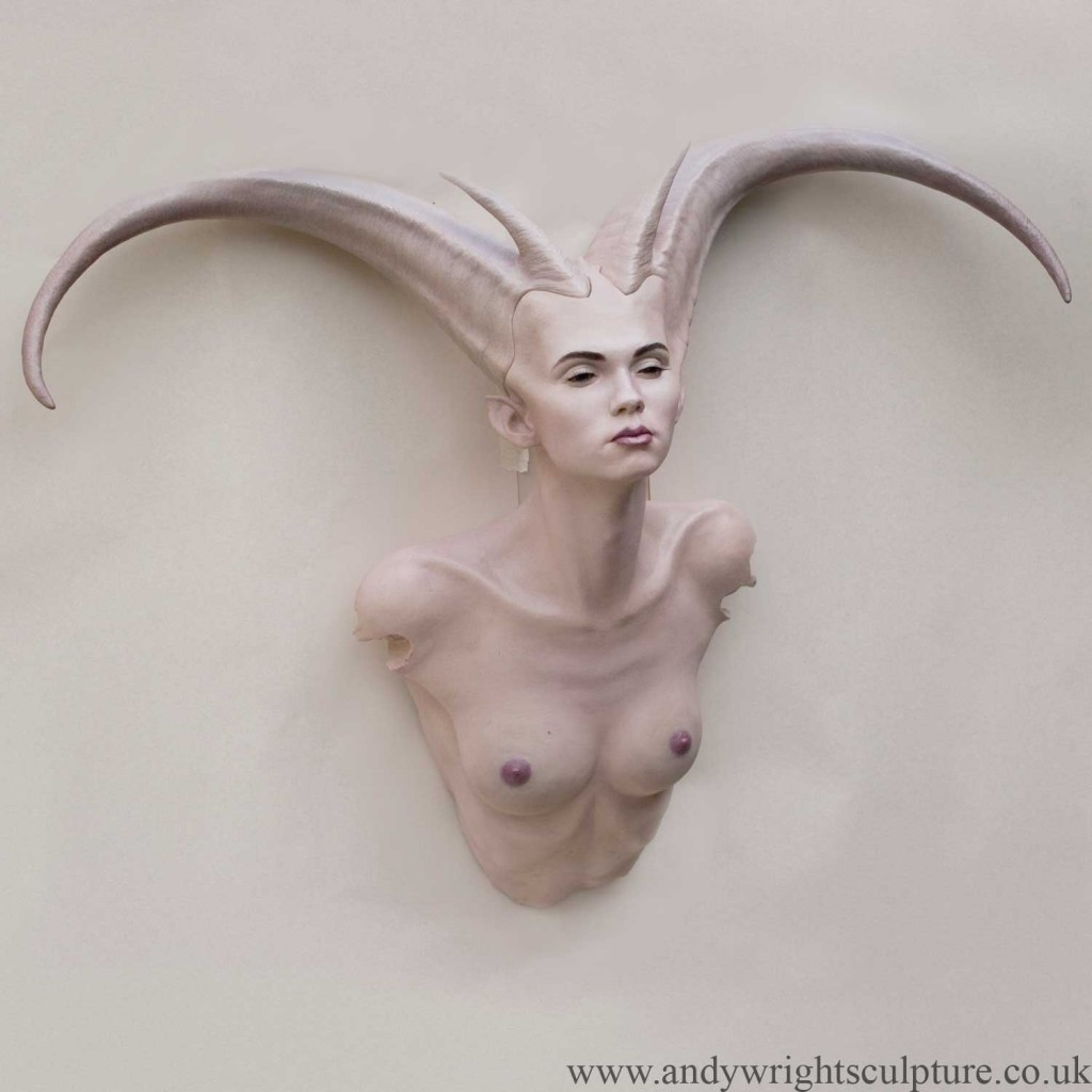 Demoness nude life size fantasy art wall base mounted sculpture