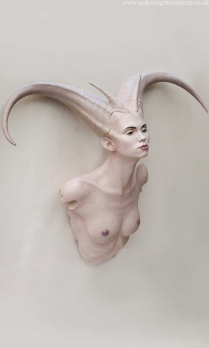 Demoness wall and plinth bust sculpture, based on the model Aisii