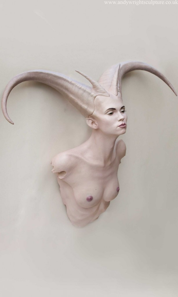 Demoness fantasy myth female nude sculpture art statue bust