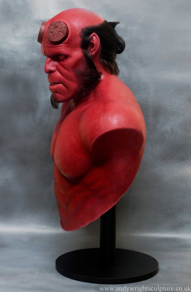Hellboy realistic life size portrait silicone bust statue collectible
