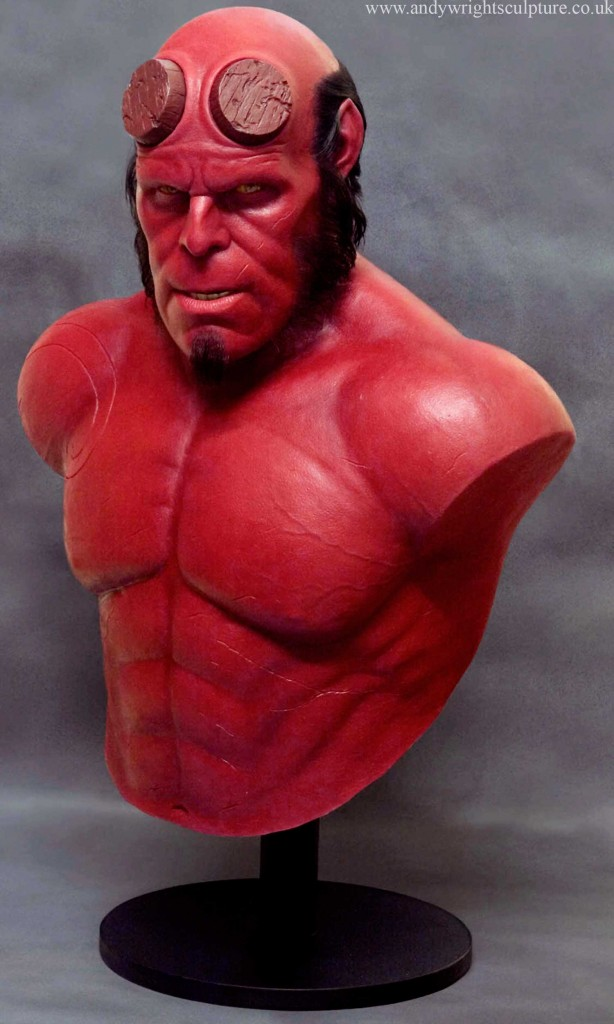 Hellboy as Played by Ron Perlman, life size bust portrait sculpture prop, made from silicone rubber, acrylic, fibreglass and human hair