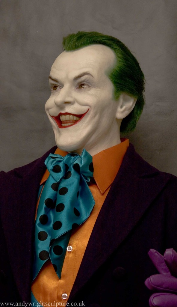 Joker from Batman, as played by Jack Nicholson in the 1989 movie Life size realistic silicone bust statue prop