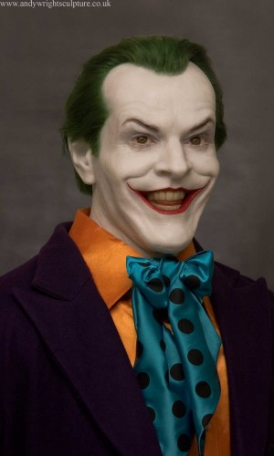 Joker from Tim Burton movie Batman, as played by Jack Nicholson. Life size portrait silicone bust commission, with human dyed green hair, acrylic eyes and teeth