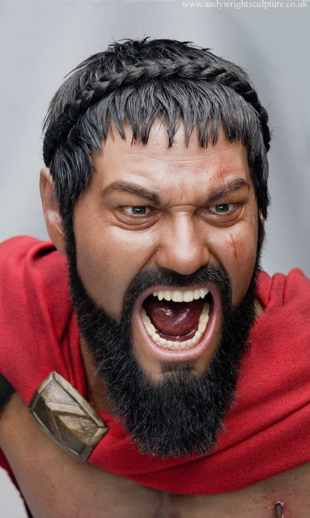 Leonidas from Frank Miller film 300, life size realistic silicone bust sculpture art portrait statue as played by Gerard Butler