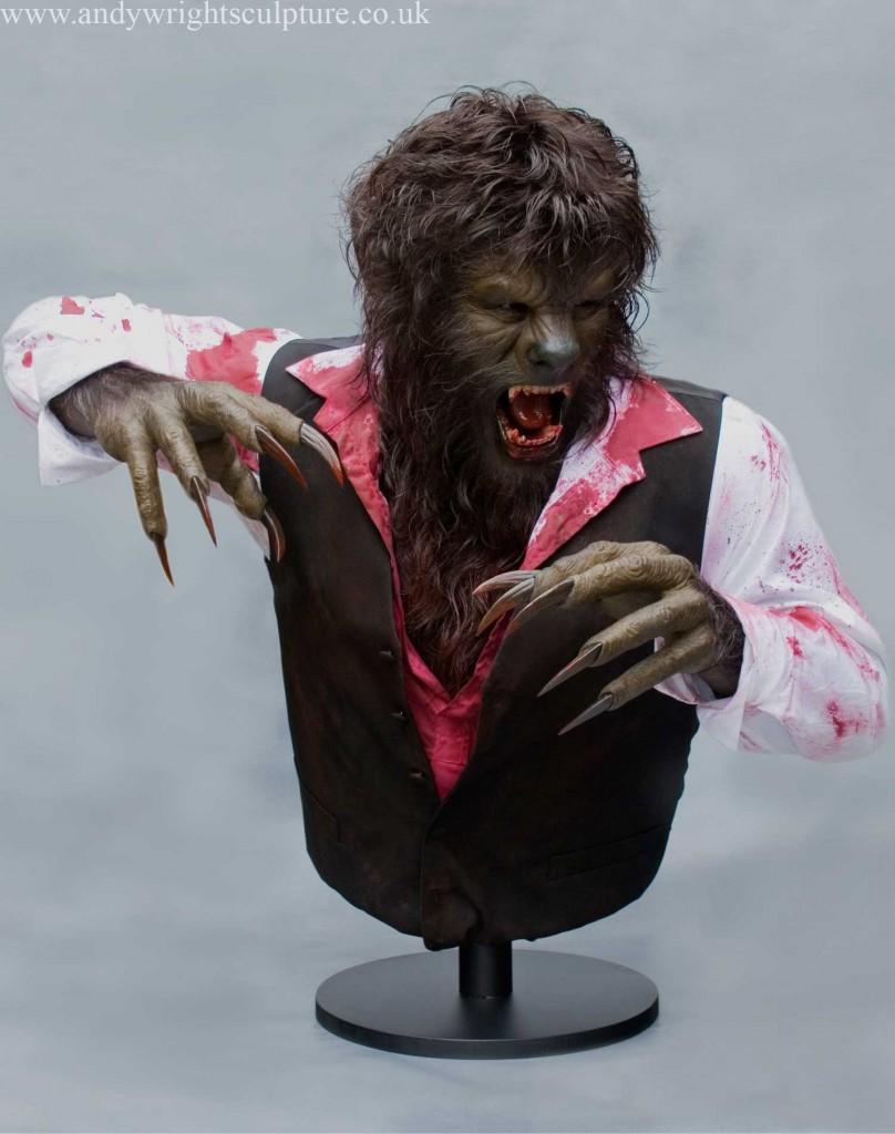 Wolfman Benicio Del Toro life size collectible silicone bust statue