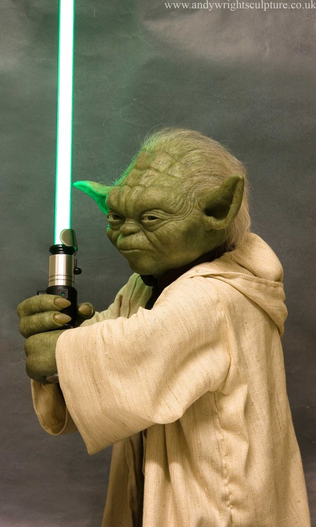 Yoda - Star Wars, 1:1 life sizerealistic life size prop with lightsaber