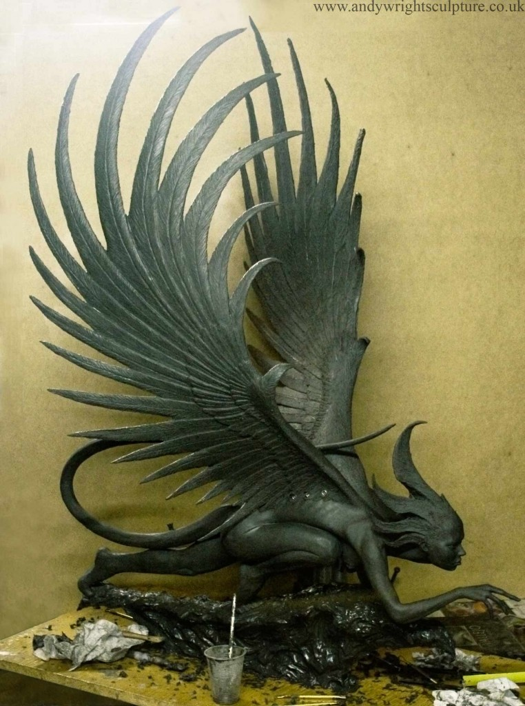 Harpy nude indoor or sculpture garden fantasy art for bronze